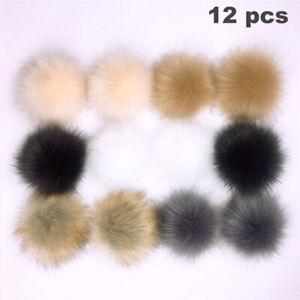 12 Pcs/pack 10CM DIY Pompom Balls Faux Fur Ball For Pom Pom Hats Accessories UK