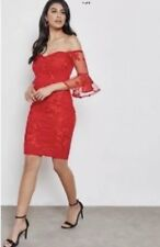 Stunning *Lipsy*(size 16 Uk) Red Bardot Embroidery Floral Mesh Dress bnwt