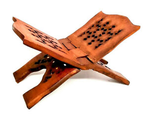 REDUCED: Quran Stand-Rehal (Brass Inlay)Quality Wooden Book Holder-Small-32x15cm