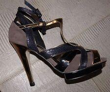 Timeless Ella Grey High Heeled T Bar Platform Peep Toe'd Sandal