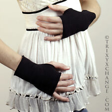 Black Cotton Fingerless Gloves Cut Off Finger Holes Smoking Texting Cycling 1097