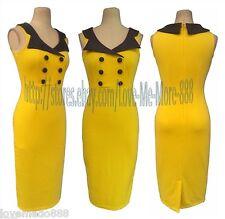 CONTRAST Pinup Rockabilly Celebrity Career Work Party SHIFT SLIM Midi Dress L#1