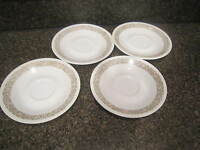 """Corning Ware Corelle Woodland Brown 6-1/4"""" Saucers Set of 4"""