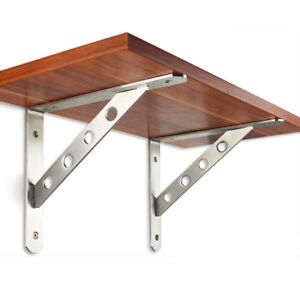 2 x Heavy Duty Stainless Steel Wall Shelf Brackets for Book Contertop Support