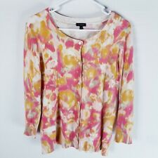 Talbots button front sweater cardigan abstract floral pink cream yellow 3/4 M