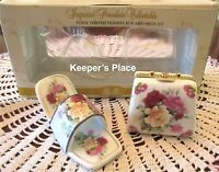 Imperial Porcelain Purse Trinket Box And Shoe Set Roses By Classic Treasures NEW