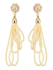 Clip on Earrings Gold Drop With Loops of Sparkling Natural Glass Beads - Roya G
