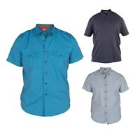 D555 Mens King Size Short Sleeved Casual Button Down Spread Collar Shirts Tops