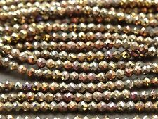 """2.1 mm micro à Facettes Noir Spinel-Gold & bronze, 13 """", 170 perles"""