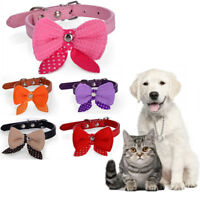 Wool Bow Dog Collar and Leads Soft Suede Bow for Doggie Puppy Cat Small Pet