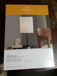 "Portfolio, 18"" Black Table Lamp w White Rice Paper Shade Lightweight Portable"