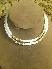 "White Milk Glass Gold Metal Puzzle Bead Necklace Vintage 30"" Long or as Choker"