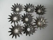 8 Old Tin Metal Christmas Light Reflectors - Flowers