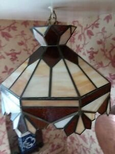 """Hanging Lamp Tiffany Cafe Style Stain Glass 18"""" x 12"""" w/ 7"""" White Globe"""
