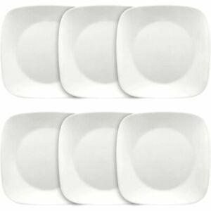 Dinner Plates Set Of 6 White 10.5 in. Square Break Resistant Microwave Safe New