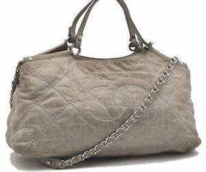 Authentic CHANEL Calf Skin Wild Stitch CC Logo 2Way Shoulder Hand Bag Gray B4243