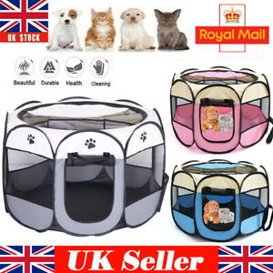 Foldable Travel Pet Exercise Kennel Soft Fabric Dog Run Puppy Cat Playpen Cage