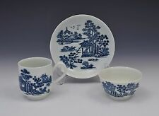 First Period Worcester The Man In The Pavilion Pattern Trio c.1760 Blue & White