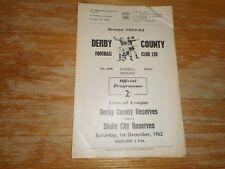 DERBY COUNTY  reserves  v  STOKE  CITY  reserves  1962/3   ~ DECEMBER 1st