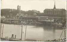 Flensburg, Mürwik, Marinestation, Schiff, Boote im Hafen, alte Foto-Ak um 1910