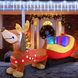 """Joiedomi Holiday Christmas Inflatable Decoration 8"""" Puppy Sleigh LED Lights"""