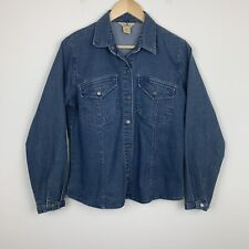 Woolrich Womens Denim Blue Snap Button Up Shirt Farm Style Long Sleeve Small S