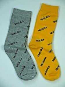 2 Pair Balenciaga Socks Spell-Out Gray/Yellow Mens/Womens/Unisex Brand New 7/8/9