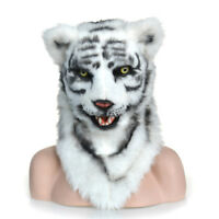 Fursuit Animal Costume Artificial Headgear White Tiger Mask Moving Mouth Cosplay