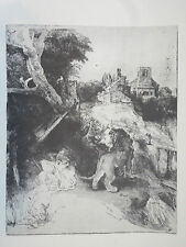 Print-'St. Jerome Reading' by REMBRANDT- Etching Nat'l Gallery of Art, Wash.