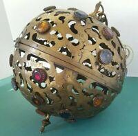Vtg 1940-50 Brass Jeweled Ceiling Light Shade Fixture Chandelier Moracan JAPAN