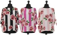 New Italian Ladies Women Batwing Blouse Top Cut Out Split Tie Arms Size 12-18