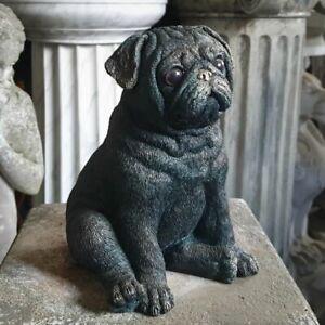 Sitting Pug Puppy Dog Statue Bronze Finish | Indoor + Garden Decoration Ornament