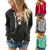 Women's Lace Up V Neck Hoodies Loose Pullover Jumper Hooded Sweatshirt Plus Size