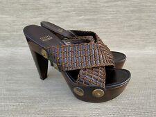 STUART WEITZMAN Black /Brown Wooden Heel Platform Sandals, Size 8.5 M