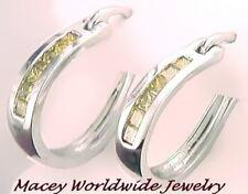10K White Gold Canary Yellow Diamond Stunning Hoop Earrings .69Ct