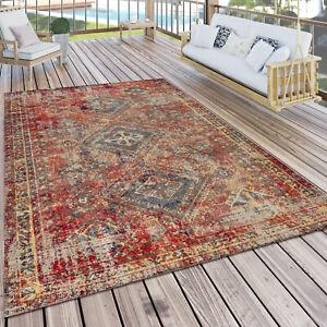 Tapis Extérieur Terrasse Rouge Balcon Oriental Design Résistant aux intempéries
