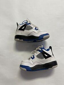 Nike Air Jordan IV 4 Retro Motorsport Toddler 308500-117 Size 6C Blue | White