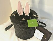 NWT Kate Spade Rabbit in a Hat Make Magic trick Bunny ears black glitter RARE