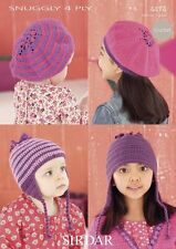 Sirdar Kids Crochet Pattern 4474 Berets + Helmets  4 Ply to fit birth - 7 years
