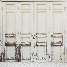 Gray Wood Door Vintage Backdrop Shabby Background Vinyl Photo Studio Prop 8x8ft