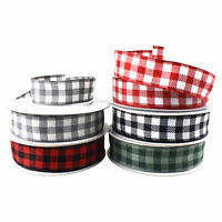 Christmas Buffalo Plaid Checkered Wired Ribbon, 7/8-Inch, 10-Yard