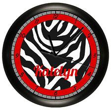 PERSONALIZED ZEBRA WALL CLOCK RED BLACK PRINT ROOM ART ANIMAL PRINT JUNGLE THEME