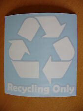 "5"" Recycling Only in White ~ Vinyl Trash Bin Restaurant Receptacle Decal Sticker"