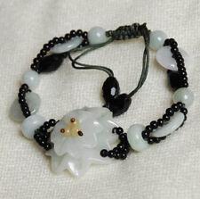 Flower: jade in silk cord bracelet B2014