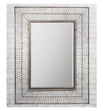 "Olden Large Champagne Gold Metal Wire Cage Design Modern Wall Mirror 42"" X 32"""
