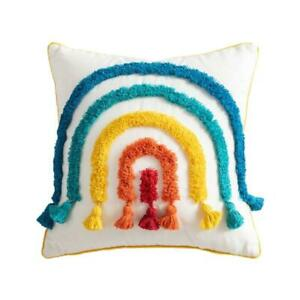 Throw Pillow Case Colorful Rainbow Bridge Tufted Tassel Cushion Cover