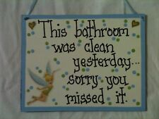 Tinkerbell Disney Bathroom cartoon handcrafted blue sign Country Cuties