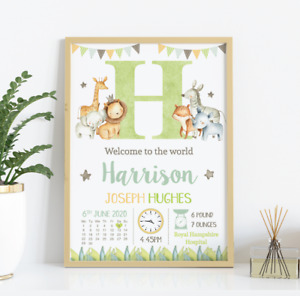 Personalised Jungle Baby Print • New Baby Gift • Jungle Theme Nursery A4 A3