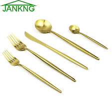 5pcs 18/10 Gold Stainless Steel Flatware Set Luxury Dessert Fork Dinnerware