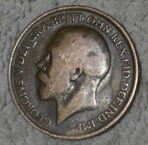 RARE! OLD ENGLISH COIN: KING GEORGE V ONE PENNY PIECE from 1919 [9]